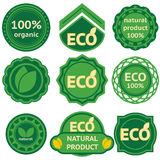 Eight green labels for eco products. Eight green labels for eco and natural products Royalty Free Illustration