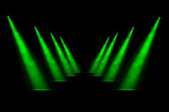 Eight Green Receding Spotlight Beams Royalty Free Stock Photo