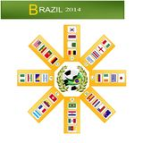 Eight Group of Soccer Tournament in Brazil 2014. Brazil 2014, 8 Group of 32 Nations of Football or Soccer Championship in Final Tournament at Brazil Stock Photography