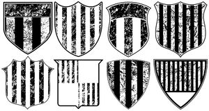Eight Grunge Striped Shields. Eight Black and White Grunge Striped Shields Stock Photography
