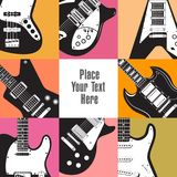 Eight guitars frame this white space Royalty Free Stock Photography