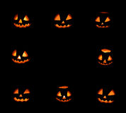 Eight halloween pumpkins frame on black. Background Stock Image
