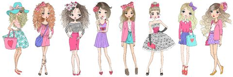 Eight hand drawn beautiful cute cartoon summer fasshion girls.