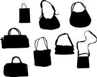 Eight handbag silhouettes Royalty Free Stock Photo