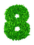 Eight. Handmade number 8 from green scraps of paper Royalty Free Stock Photos