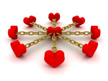 Eight hearts linked to one heart in center. Concept 3D illustration Stock Photos