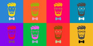 Eight hipsters. Pop Art. Silhouettes of an attractive men. Icons, avatars, silhouettes of an attractive men with a beard and mustache. Multicolored stock illustration
