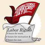 Eight Hours Basic Labor Rights Commemorated in Workers' Day, Vector Illustration Royalty Free Stock Photos