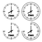 Eight Hours Clock on white background. Eight o`clock. Four options Royalty Free Stock Image