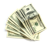 Eight hundred dollar bills on white Royalty Free Stock Image