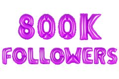 Eight hundred thousand followers, purple color Royalty Free Stock Photo
