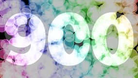 Eight hundreds ninety nine to nine hundreds points, level, rank fade in/out animation with color gradient moving bokeh background.