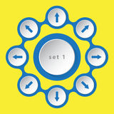 Eight icons with arrows. Blue white icons with arrows in eight directions on a yellow background Stock Image