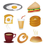 Eight icons for breakfast Royalty Free Stock Image