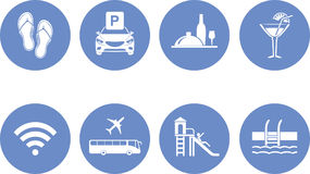 Eight icons for the design of the hotel website Stock Image