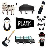 Eight illustrations in black color vector illustration