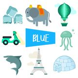 Eight illustrations in blue color royalty free illustration