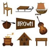 Eight illustrations in brown color stock illustration