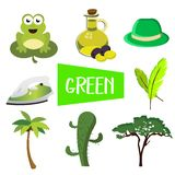Eight illustrations in green color royalty free illustration