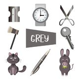 Eight illustrations in grey color royalty free illustration