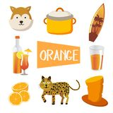 Eight illustrations in orange color stock illustration