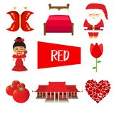 Eight illustrations in red color stock illustration