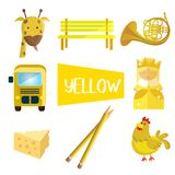 Eight illustrations in yellow color stock illustration
