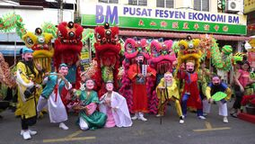 The Eight Immortals, lion dance, and dragon dance at the street