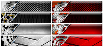 Eight Industrial Metal Headers Royalty Free Stock Photography