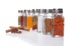 Eight jars of spices Stock Image