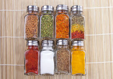Eight jars of spices Royalty Free Stock Photos
