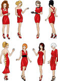 Eight  ladies in red cocktail dresses Royalty Free Stock Images