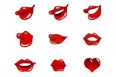 Eight lips & one heart Royalty Free Stock Photos