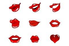 Eight lips & one heart royalty free stock photos