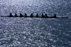 Eight man rowing shell Stock Photography