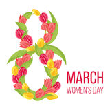 Eight march design with 8 from tulip flowers on white background for greeting card. Vector illustration. Floral poster to international woman day Royalty Free Stock Photo