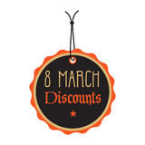 Eight March discount tag in black and orange stock photo