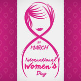 Eight of March, International Women's Day Design with Lines, Vector Illustration. Woman's face in lines forming the eight number for Women's Day  in fuchsia Stock Photography