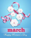 Eight march poster with paper flowers. Handmade card happy woman day vector illustration Royalty Free Stock Image
