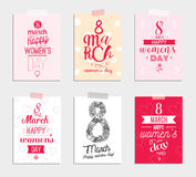Eight march typographic design set. Happy womens day. Stock Image