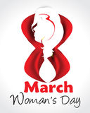 Eight March Womans Day background with lady. Vector illustration Stock Photos