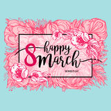 Eight March Women`s Day greeting card template, frame with flowers. Vector illustration, design element Royalty Free Stock Photography
