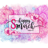 Eight March Women`s Day greeting card template, watercolor background. Vector illustration, design element Stock Image