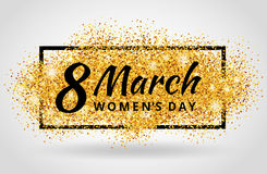 Eight march womens day Gold glitter. 8 march womens day. Gold glitter. Gold background for flyer, poster, sign, banner, web, header. Abstract golden background Stock Photography