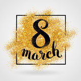 Eight march womens day Gold glitter Stock Image