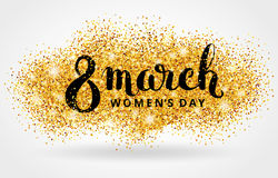 Eight 8 march womens day gold glitter background. 8 march womens day. Gold glitter. Gold background for flyer poster, sign, banner, web header. Abstract golden Royalty Free Stock Images