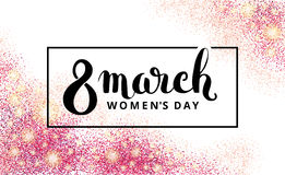 Eight 8 march womens day pink glitter. 8 march womens day. Pink glitter. Pink background for flyer poster, sign, banner, web header. Abstract golden background Royalty Free Stock Photography