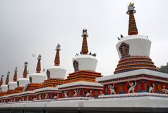 Eight Merits Stupas. In Kumbum Monastery (Ta er temple) in Qinghai, China Stock Photography