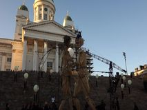 Eight meters tall wooden giants at the Night of Arts festival in Helsinki, Finland stock video footage