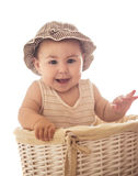 Eight month baby in basket Stock Photo